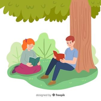 Mão desenhadas pessoas lendo fundo ao ar livre