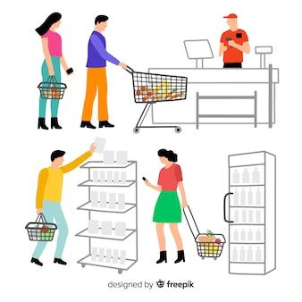 Mão desenhadas pessoas na coleção de supermercado