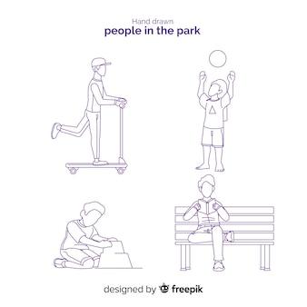 Mão desenhadas pessoas na coleção parque