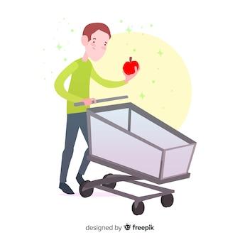 Mão desenhadas pessoas na ilustração de supermercado