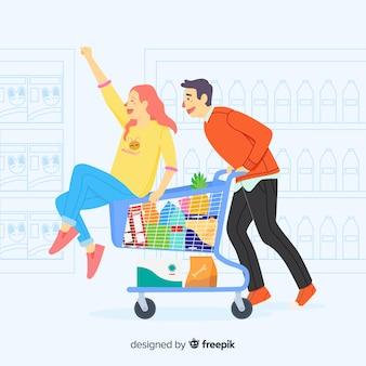 Mão desenhadas pessoas no fundo do supermercado