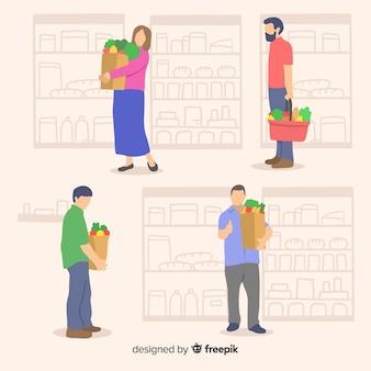 Mão desenhadas pessoas no pacote de supermercado