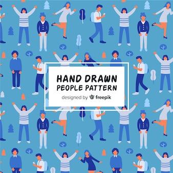 Mão desenhadas pessoas no padrão de parque