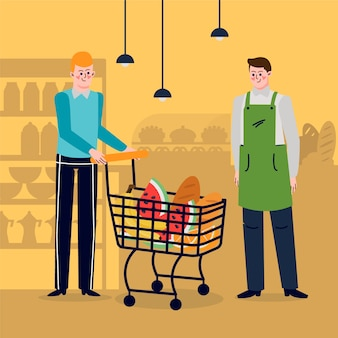 Mão desenhadas pessoas no supermercado