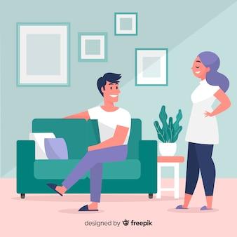 Mão desenhadas pessoas relaxando em casa ilustração