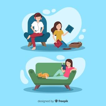 Mão desenhadas pessoas relaxando em casa