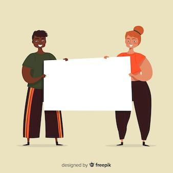 Mão desenhadas pessoas segurando cartaz em branco
