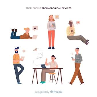 Mão desenhadas pessoas usando a coleção de dispositivos