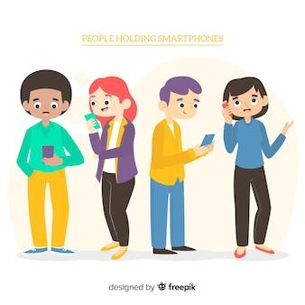 Mão desenhadas pessoas usando coleção smartphone