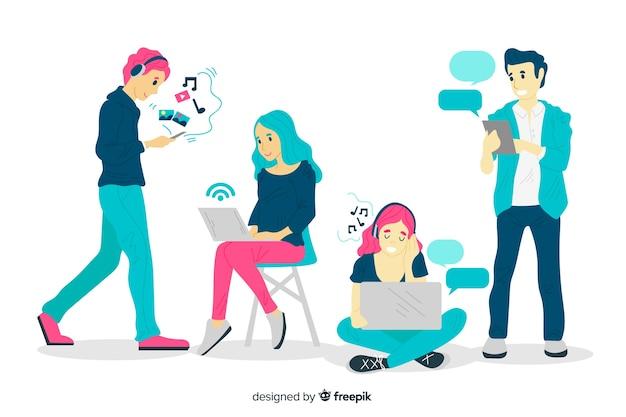 Mão desenhadas pessoas usando o pacote de dispositivos tecnológicos
