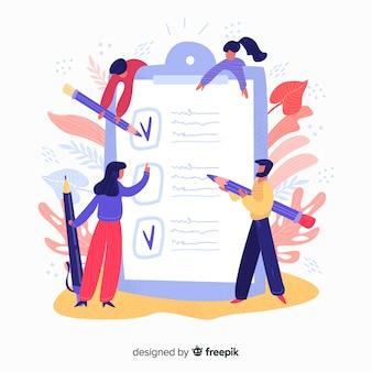 Mão desenhadas pessoas verificando a ilustração de lista de verificação gigante