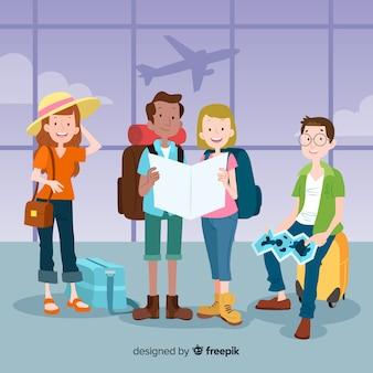 Mão desenhadas pessoas viajando coleção