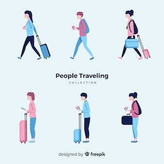 Mão desenhadas pessoas viajando conjunto
