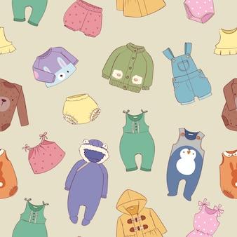 Mão desenhadas roupas para pequeno bebê meninos e meninas sem costura padrão