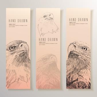 Mão, desenhado, águia, bandeiras