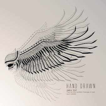 Mão, desenhado, águia