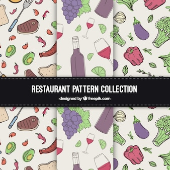 Mão, desenhado, alimento, padrão, cobrança