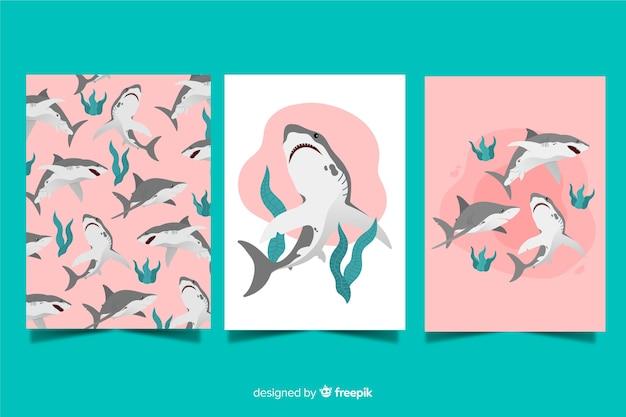 Mão, desenhado, animal selvagem, cartão, cobrança