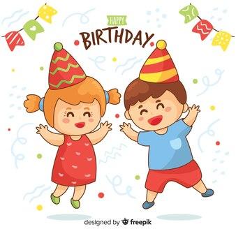 Mão, desenhado, aniversário, crianças