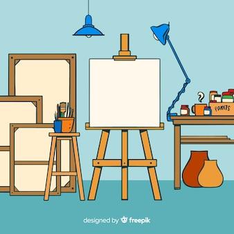 Mão, desenhado, arte, estúdio, local trabalho, ilustração