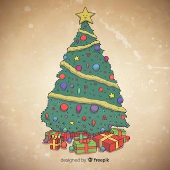 Mão, desenhado, árvore natal, ilustração