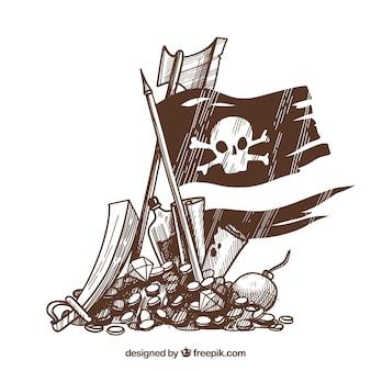 Mão, desenhado, bandeira, tesouro, fundo