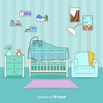 Mão, desenhado, bebê, sala, fundo