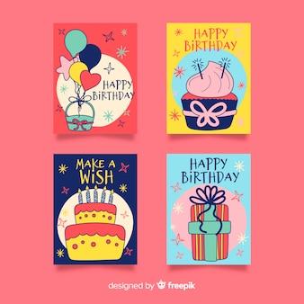 Mão, desenhado, cartão aniversário, cobrança