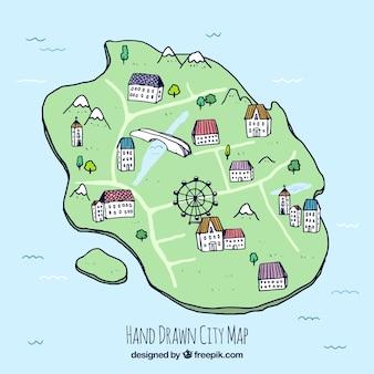 Mão, desenhado, cidade, mapa, ferris, roda