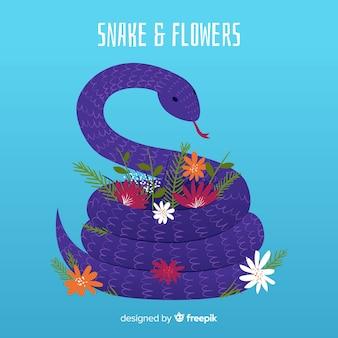 Mão, desenhado, cobra, e, flores, ilustração