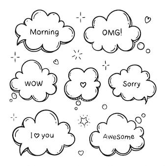 Mão desenhado conjunto de balões de fala com palavras. nuvem de sonho doodle. ilustração de linha.