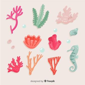 Mão, desenhado, coral, cobrança