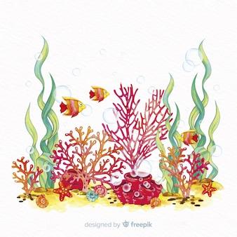 Mão, desenhado, coral, ilustração
