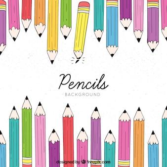 Mão, desenhado, costas, para, escola, fundo, com, lápis