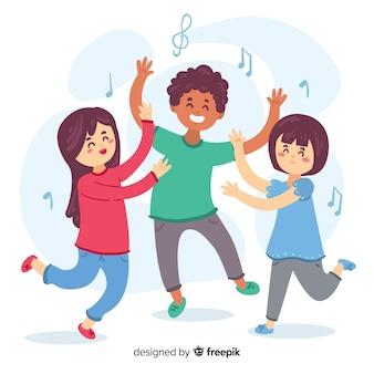 Mão, desenhado, crianças, dançar, jogo