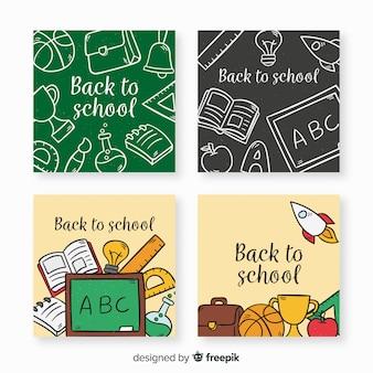 Mão, desenhado de volta para o modelo de cartão de escola