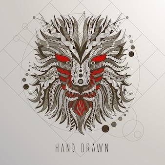 Mão, desenhado, dragão, cabeça