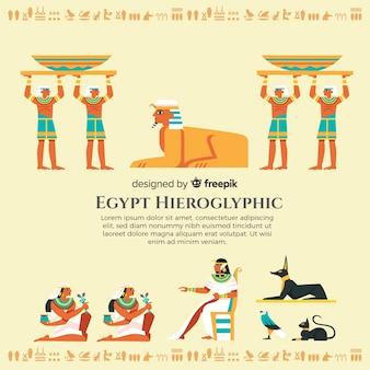 Mão, desenhado, egípcio, hieroglyphics, fundo