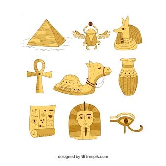 Mão, desenhado, egito, símbolos, e, deuses, cobrança