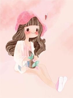Mão desenhado em aquarela retrato no estilo de vida da garota adorável.