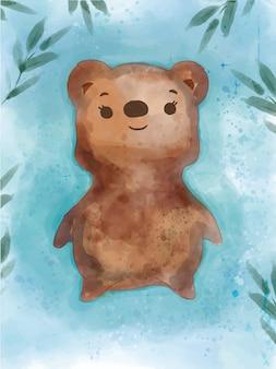 Mão desenhado em aquarela retrato no estilo de vida do adorável urso. ilustração vetorial