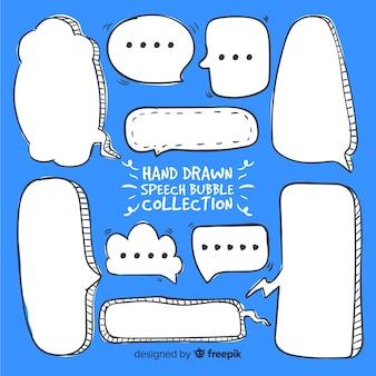 Mão, desenhado, em branco, fala, bolhas, com, diferente, formas