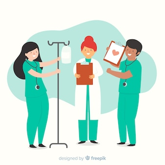 Mão, desenhado, enfermeira, equipe, cobrança