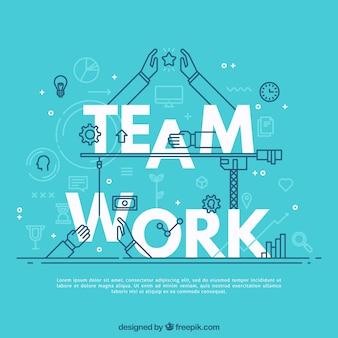 Mão, desenhado, equipe, trabalho, conceito