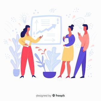 Mão, desenhado, equipe, trabalho, reunião, fundo
