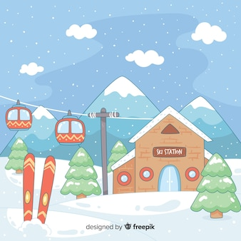 Mão, desenhado, estação esqui, ilustração