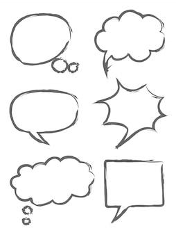 Mão, desenhado, fala, bolhas