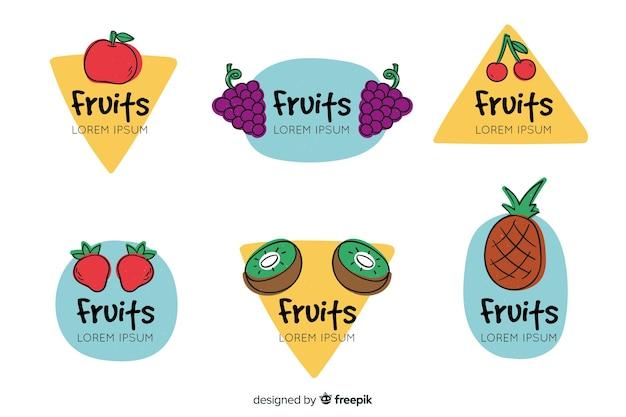 Mão, desenhado, fruta, etiqueta, cobrança