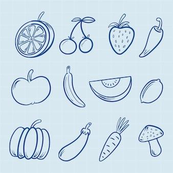 Mão, desenhado, fruta, ícones