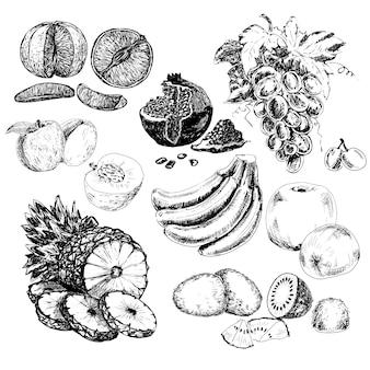 Mão, desenhado, frutas, cobrança